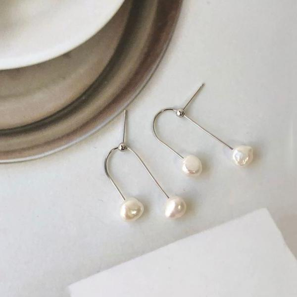 925 Sterling Silver U line Fresh water pearls drop earrings, double pearls drop earrings