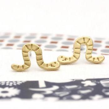 cute and unique Worm post earrings in gold