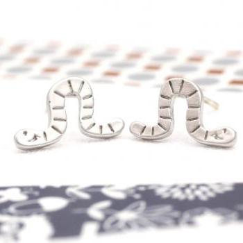 cute and unique Worm post earrings in silver
