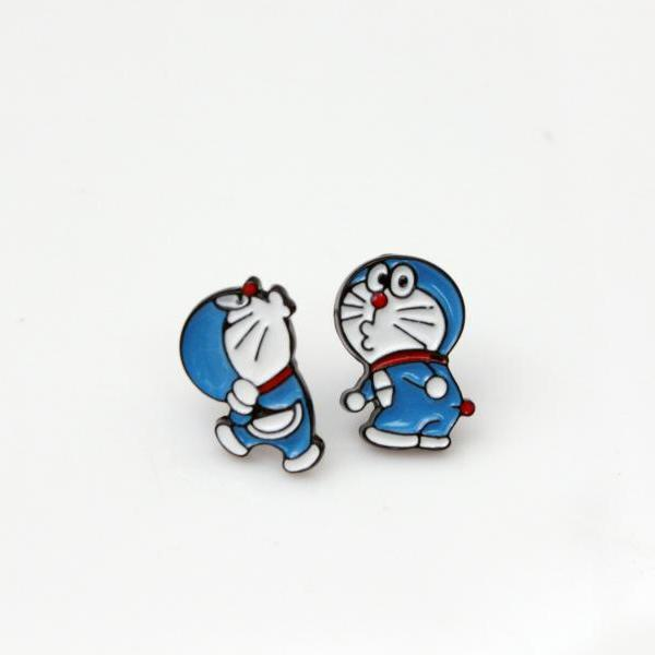 Cute Doraemon Cartoon Earrings. Doraemon stud Earrings. Cat earring, Kids earrings