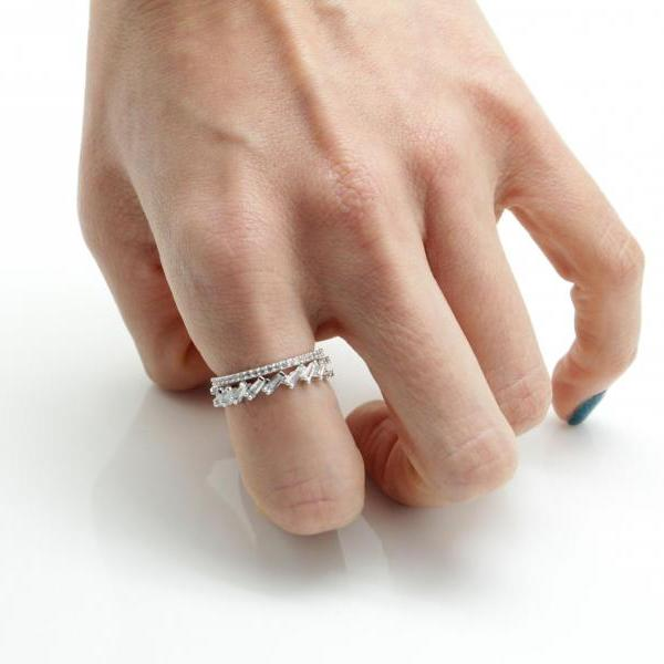 Baguette Cut square Cubic Stacking band ring 2 Set Scattered Baguette Cubic ring
