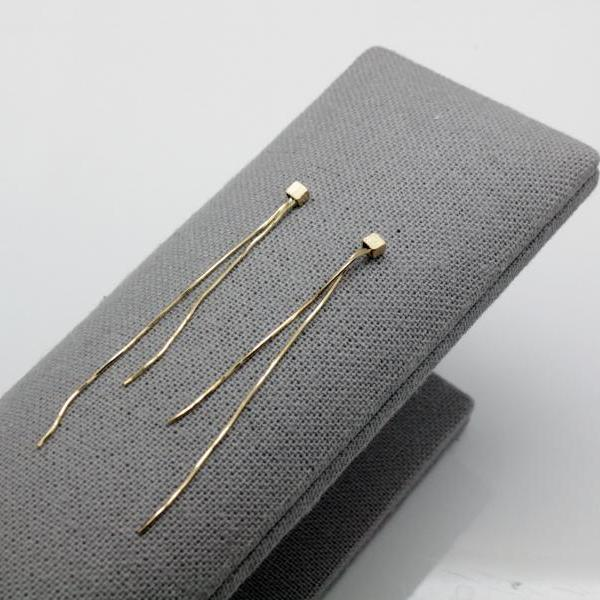 925 Sterling Silver Tiny cube and snake chain long drop earrings