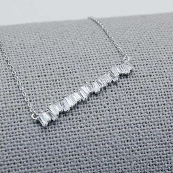 925 Sterling Silver Baguette Cut square Cubic Zirconia Bar Necklace, baguette bar necklace