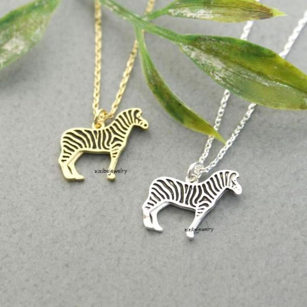 Zebra Pendant Necklace in gold / silver, N0294G