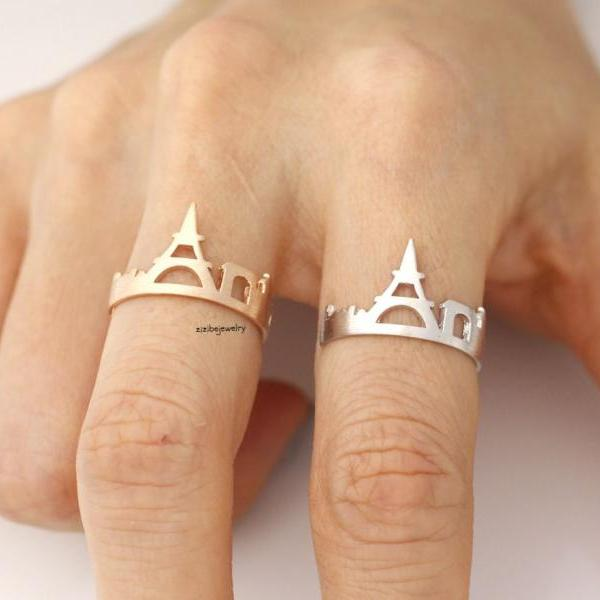 Cityscape Ring, Skyline ring- Paris, adjustable ring in 3 colors- Adjustable Ring, R0318K