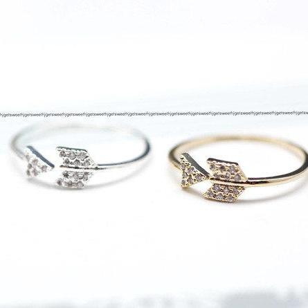Arrow ring with Rhinestone in gold / silver- Adjustable Ring(925 sterling silver / plated over Brass)