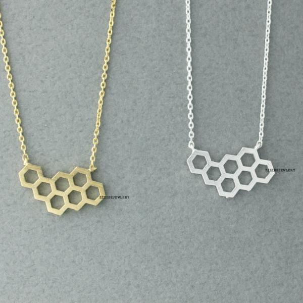 Beautiful Honeycomb ,Beehive necklace in Gold/Silver - geometric jewelry