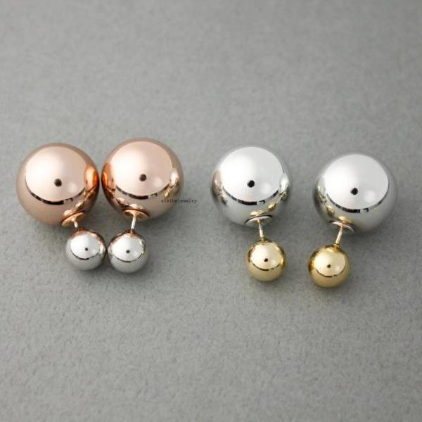 Front and Back Double colors balls EarJackets Post Earrings 8mm & 16mm , E0454S