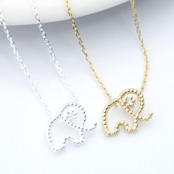 Cute and Tiny elephant Pendant Necklace detailed with CZ silver/ gold