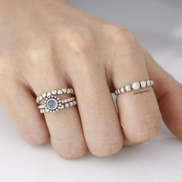 925 Sterling Silver Birthstone Stacking Rings