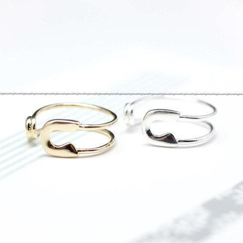 Big Safety pin ring - Adjustable Ring(925 sterling silver / plated over Brass)