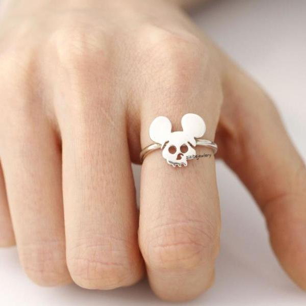 925 sterling silver Cute mickey mouse ears skull ring, R0395S