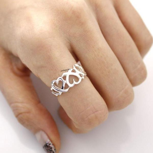 925 Sterling Silver Delicate 3 open Hearts ring, R0427S