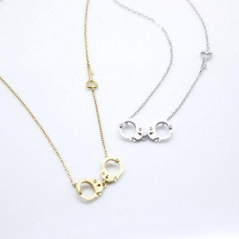 Handcuff and Heart key gold and silver necklace(925 sterling silver / plated over Brass)