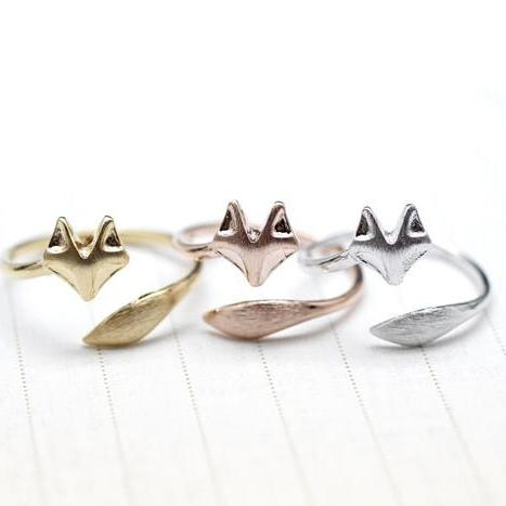925 sterling silver Fox Tail Adjustable Ring  in 3 colors