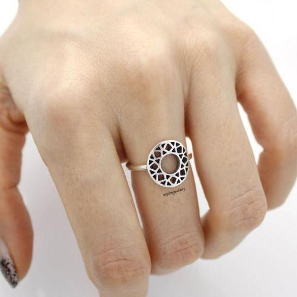 925 Sterling Silver Circle Stacking Ring -geometric ring