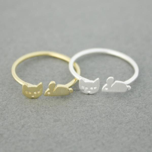 Cat and Mouse adjustable Ring in 2 colors, R0563G