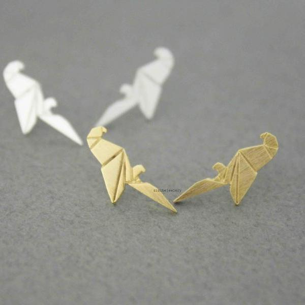 Origami Parrot Stud earrings in gold / silver, E0504G
