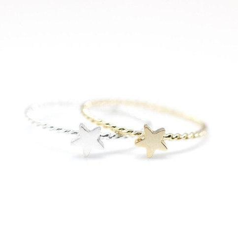925 Sterling Silver Tiny Star Ring with twisted band 2 colors