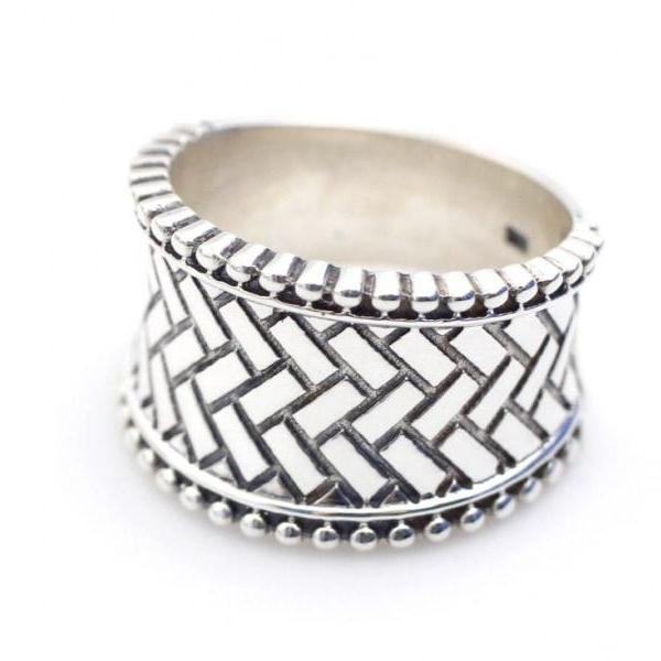925 sterling silver Artisan Wide Band with Basket weave pattern Ring