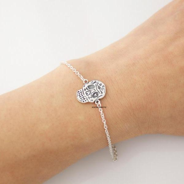 925 sterling silver skull head with heart eye charm bracelet, B0400S
