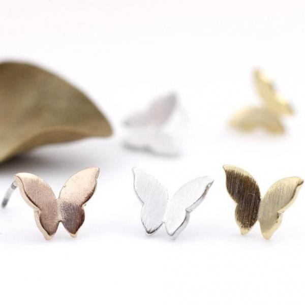 Lovely Butterfly studs earrings in matte gold / silver /pink