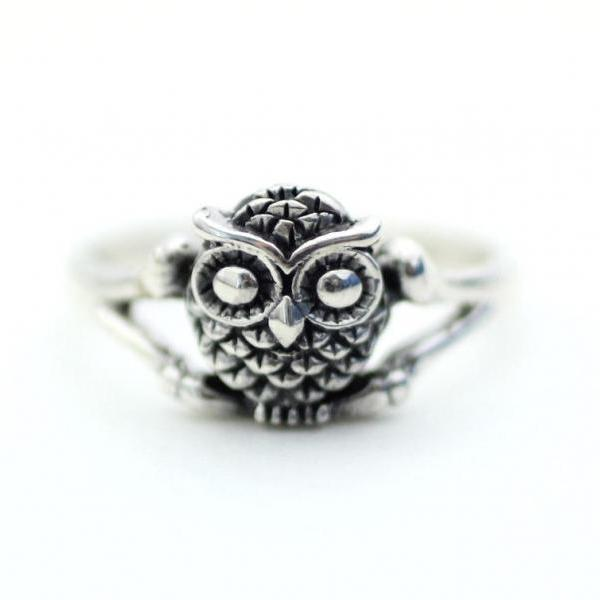 925 Sterling Silver Owl Ring, R0221S