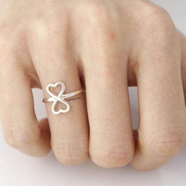 925 sterling silver Sideways Infinity Heart Ring
