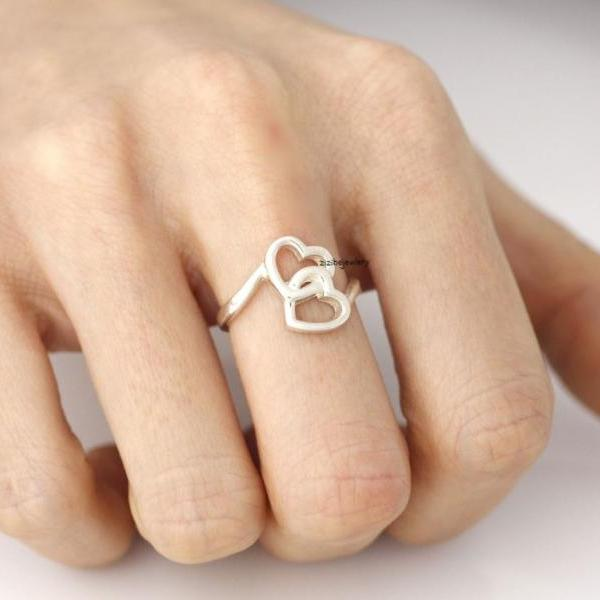 925 sterling silver Linked Infinity Heart Ring