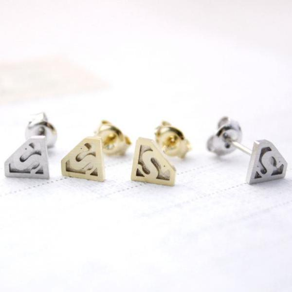 Superman mark Stud earrings in Gold / Silver, E0104G