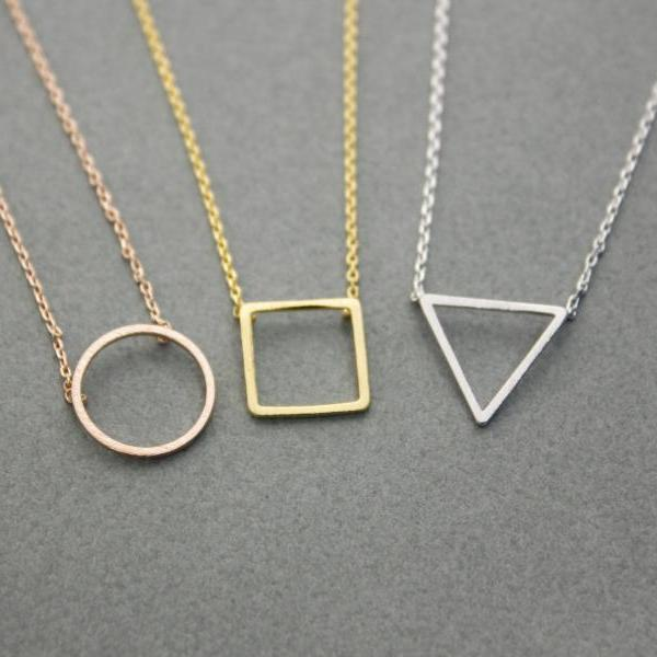 Open Trianlge , Square , Circle Pendant Necklace in 3 colors, N0245GK