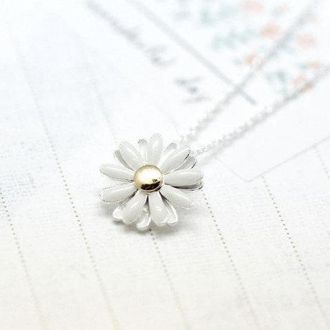 925 sterling silver White Daisy flower pendant necklace-2