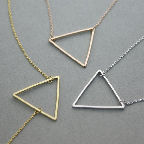 Big size Open Trianlge Pendant Necklace in 3 colors, N0235K