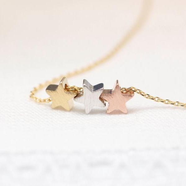 Three Star matt Gold, Silver, Rose modern necklace-Gold chain