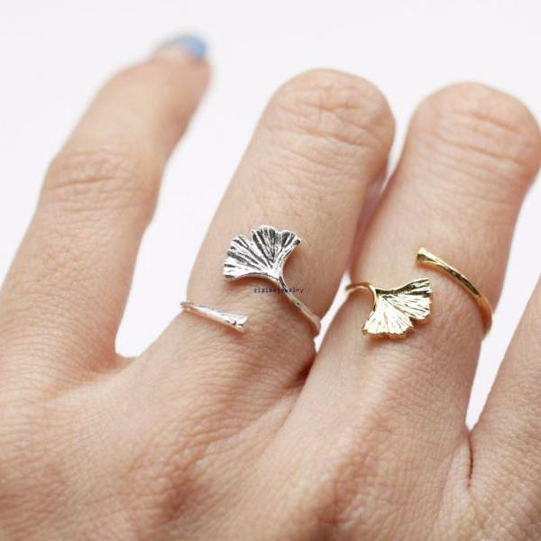Ginkgo leaf Knuckle adjutable Ring in Gold/Silver, R0823G