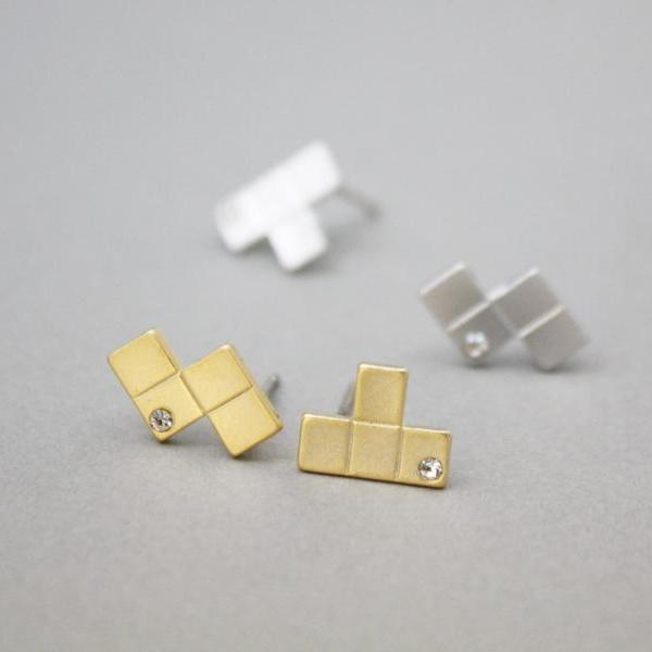 Tetris Piece stud, Puzzle earrings with cubic in silver / gold,E0884S