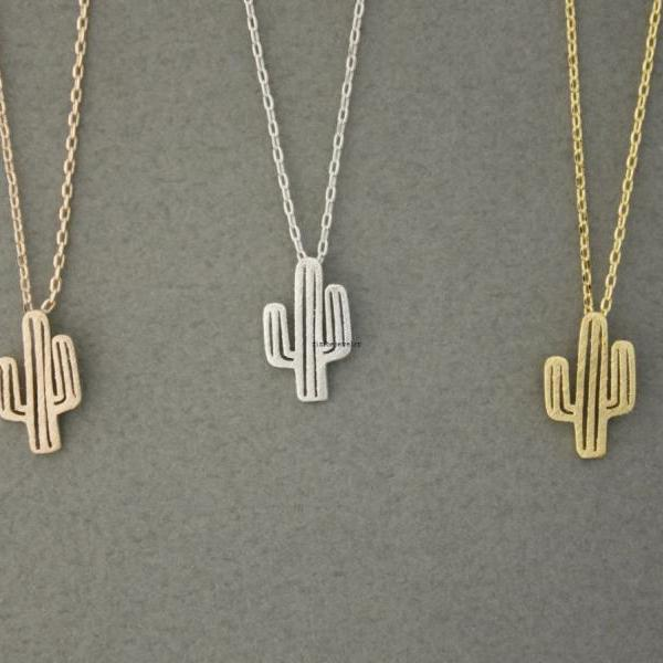 Cactus Necklace, Cacti Tree Peadant necklaces in 3 colors, N0600K
