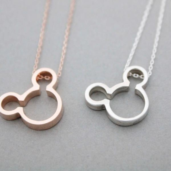 925 sterling silver Mickey Mouse Face Necklace in 3 colors, N0969S