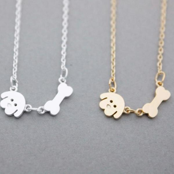 Puppy and Bone charm Necklace in 2 colors, N0973G