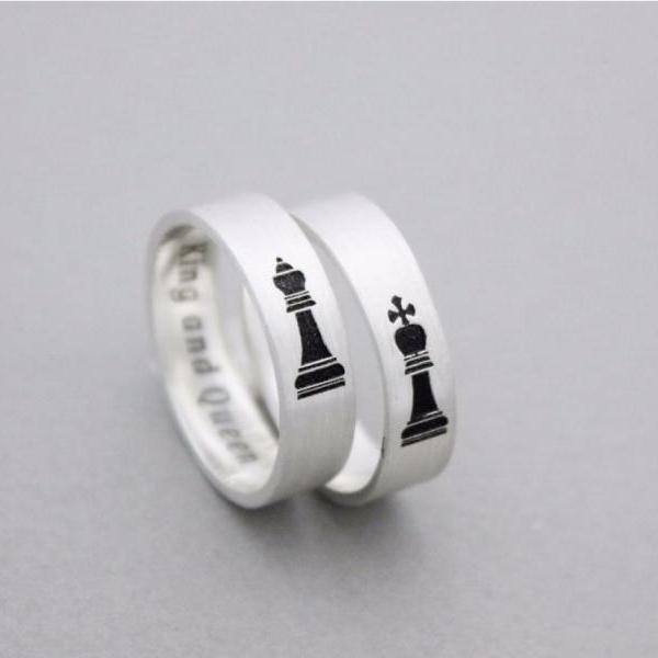 925 sterling silver Queen and King Chess Ring ,Couple Rings,Custom Personalized Initial Ring (up to 9 characters), R0951S
