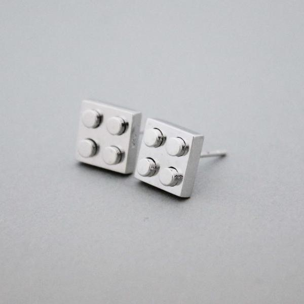 925 Sterling Silver Lego Block stud Earrings - geometric jewelry