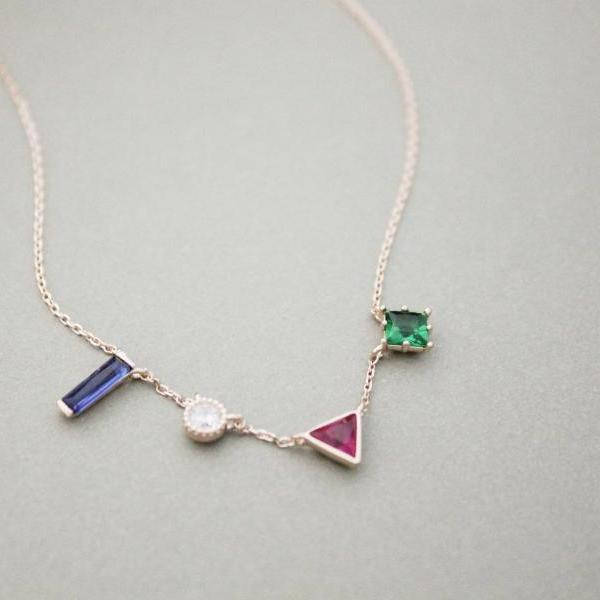 925 Sterling Silver Geometric Shape cubic necklace, 4 color Cubic Zirconia necklace, N1147S