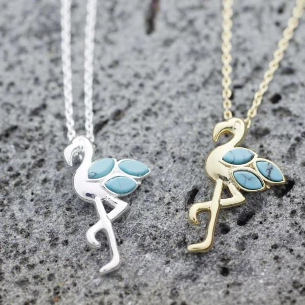 Flamingo Bird detailed with Turquoie Necklace in 2 colors