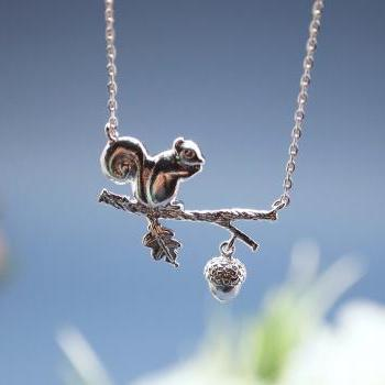 Forest Squirrel On a Branch Necklace in silver