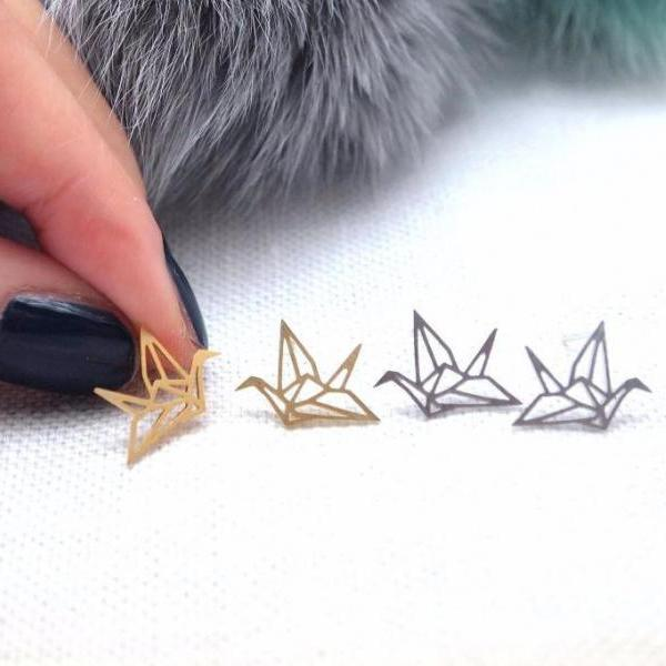 Origami Crane stud earrings in gold / silver
