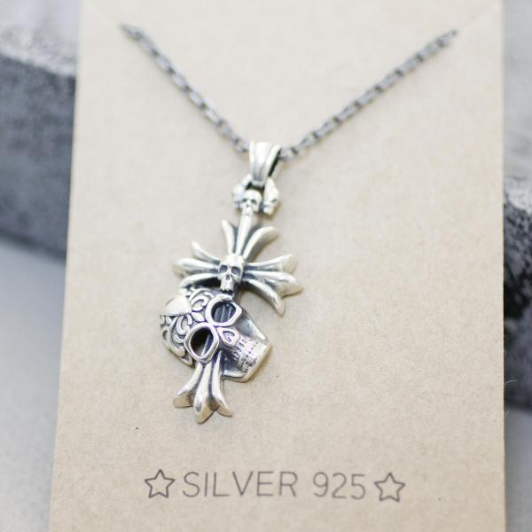 925 sterling silver Antique Cross with skulls Pendant Necklace
