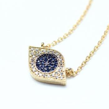 EVIL EYE Pendant Necklace detailed in Swarovski Blue setting Gold