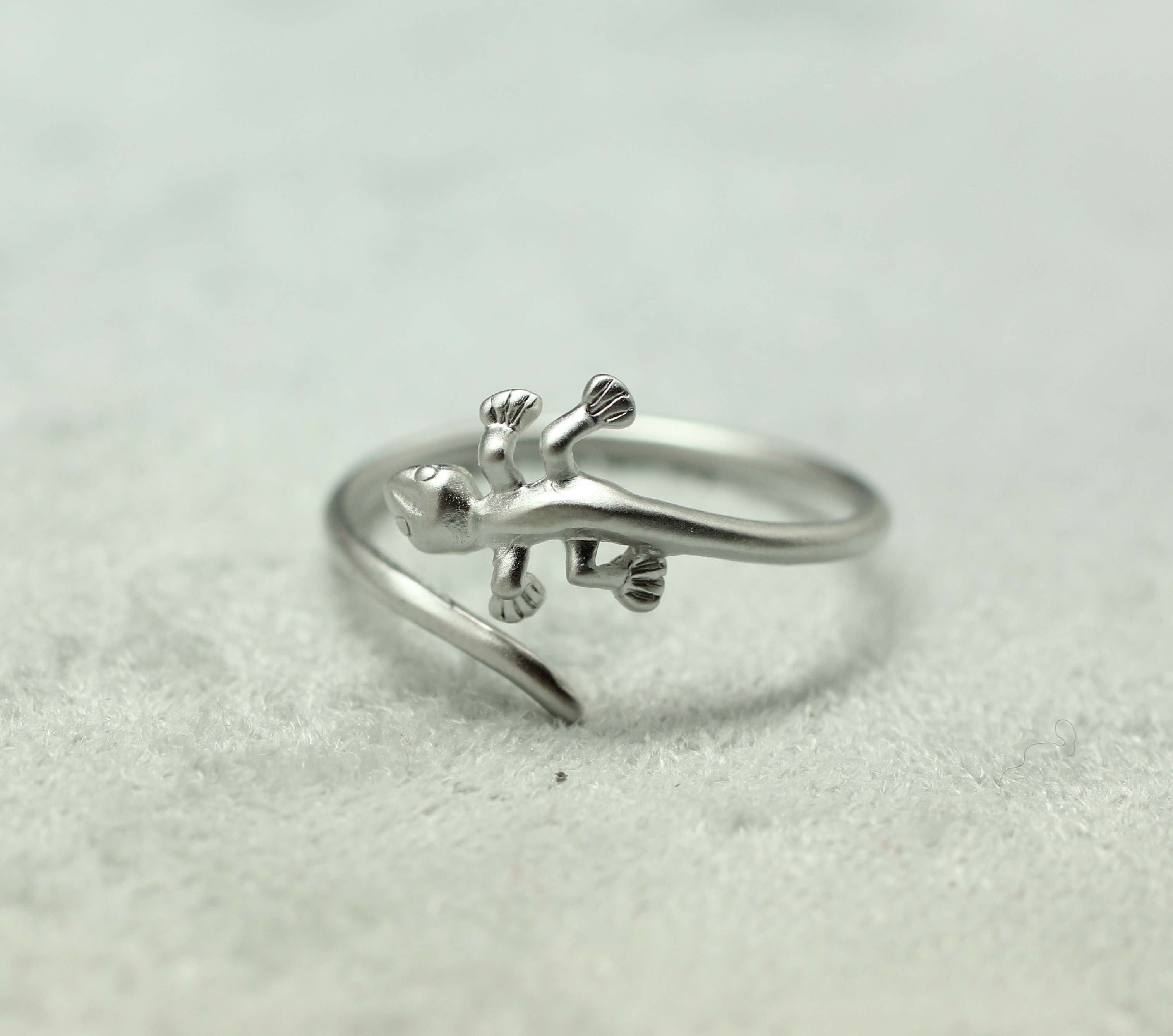 caymancode adjustable ring silver rings lizard unique and cute in